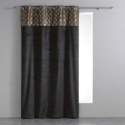 Rideau a oeillets 140 x 240 cm velours+top imprime or graphigold Noir