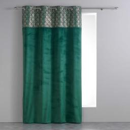 Rideau a oeillets 140 x 240 cm velours+top imprime or graphigold Vert