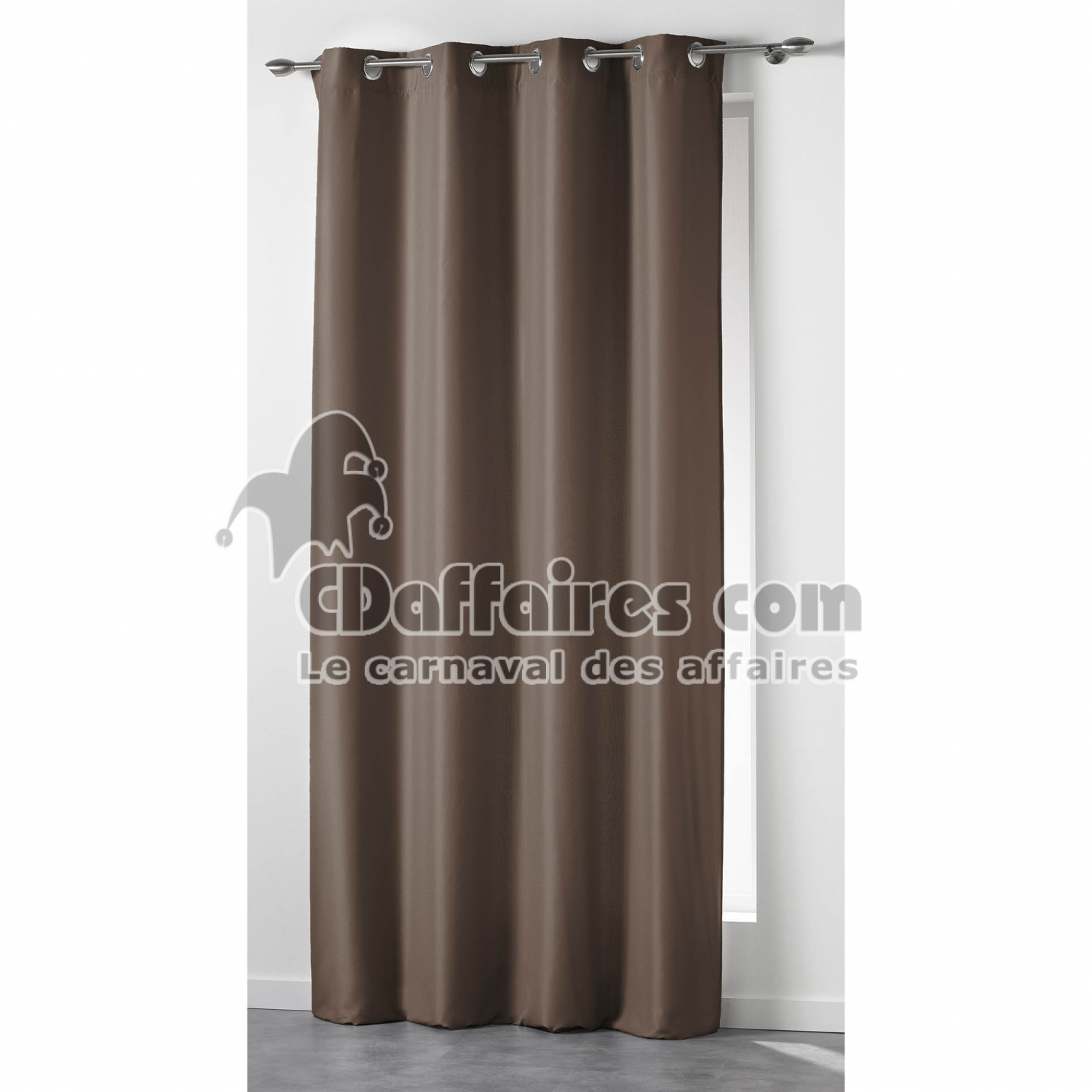 rideau a oeillets 140 x 260 cm isolant uni island taupe cdaffaires. Black Bedroom Furniture Sets. Home Design Ideas