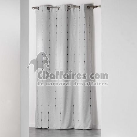Rideau a oeillets 140 x 260 cm jacquard bicolore filio Gris