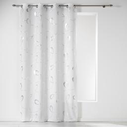 Rideau a oeillets 140 x 260 cm microfibre imprimee argent infinity Blanc