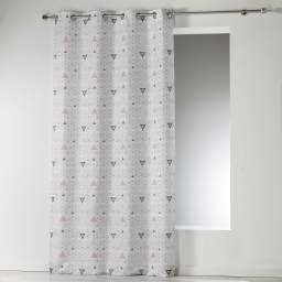 Rideau a oeillets 140 x 260 cm microfibre imprimee cylia Blanc