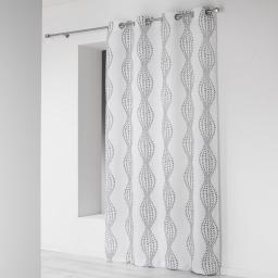 Rideau a oeillets 140 x 260 cm microfibre imprimee lierra Blanc