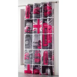 Rideau a oeillets 140 x 260 cm microfibre imprimee london tour Rose