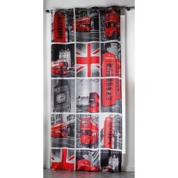 Rideau a oeillets 140 x 260 cm microfibre imprimee london tour Rouge