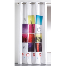Rideau a oeillets 140 x 260 cm microfibre imprimee new city  des. place Blanc
