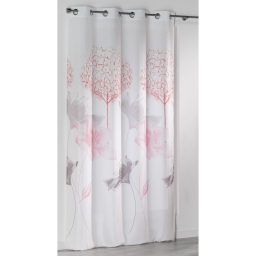 Rideau a oeillets 140 x 260 cm microfibre imprimee sweet garden Rose