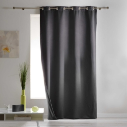Rideau a oeillets 140 x 260 cm occultant isolant covery Anthracite
