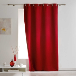 Rideau a oeillets 140 x 260 cm occultant isolant covery Rouge