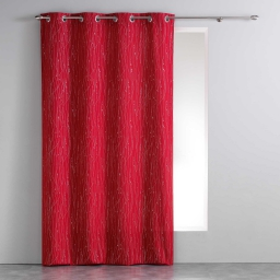 Rideau a oeillets 140 x 260 cm polyester applique filiane Rouge