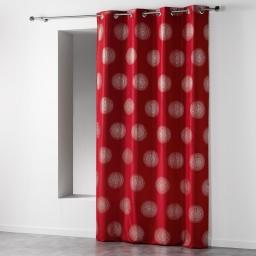 Rideau a oeillets 140 x 260 cm polyester imprime argent atome Rouge