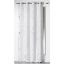 Rideau a oeillets 140 x 260 cm polyester imprime argent bully Blanc