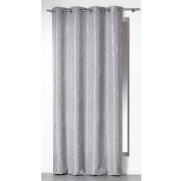 Rideau a oeillets 140 x 260 cm polyester imprime argent bully Perle