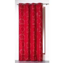 Rideau a oeillets 140 x 260 cm polyester imprime argent bully Rouge
