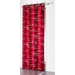 Rideau a oeillets 140 x 260 cm polyester imprime argent courrier Rouge