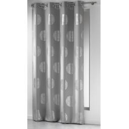 Rideau a oeillets 140 x 260 cm polyester imprime argent platine Gris