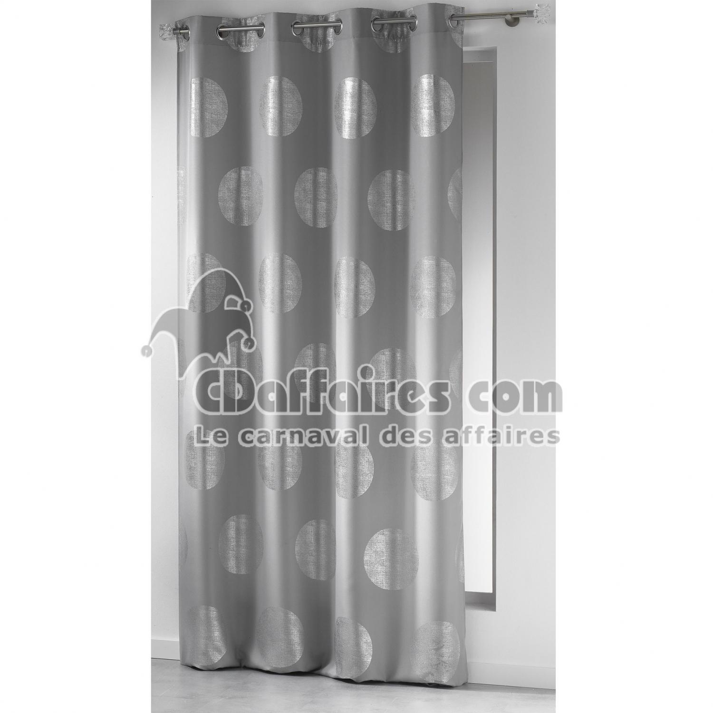 Rideau a oeillets 140 x 260 cm polyester imprime argent for Rideaux imprimes