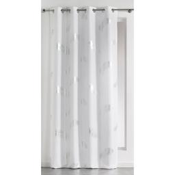 Rideau a oeillets 140 x 260 cm polyester imprime argent plumette Blanc