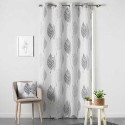 Rideau a oeillets 140 x 260 cm polyester imprime belinda Noir/Blanc