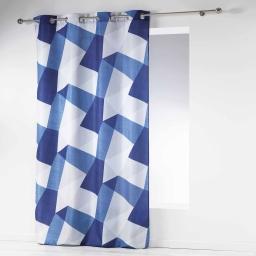 rideau a oeillets 140 x 260 cm polyester imprime blue square