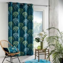 Rideau a oeillets 140 x 260 cm polyester imprime blue vegetal Bleu