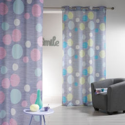 Rideau a oeillets 140 x 260 cm polyester imprime d/f atolls Rose