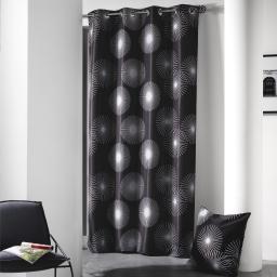 Rideau a oeillets 140 x 260 cm polyester imprime d/f hypnotic Noir