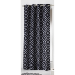 Rideau a oeillets 140 x 260 cm polyester imprime d/f ikati Noir