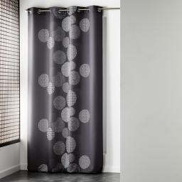 Rideau a oeillets 140 x 260 cm polyester imprime d/f japonica Anthracite