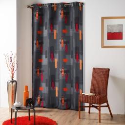 Rideau a oeillets 140 x 260 cm polyester imprime d/f jaya Anthracite