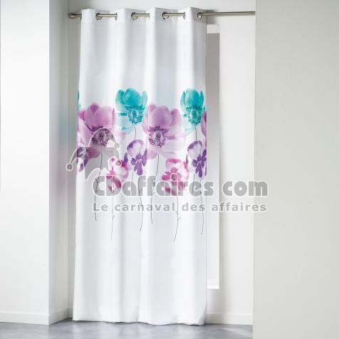 Rideau a oeillets 140 x 260 cm polyester imprime dounia Bleu