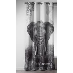 rideau a oeillets 140 x 260 cm polyester imprime elephant des. place