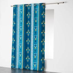 Rideau a oeillets 140 x 260 cm polyester imprime ethnie Bleu