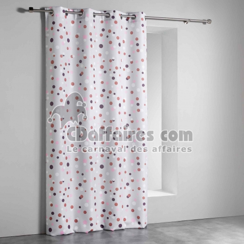 Rideau a oeillets 140 x 260 cm polyester imprime falabella Gris