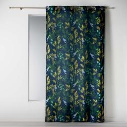 Rideau a oeillets 140 x 260 cm polyester imprime ficusia Noir