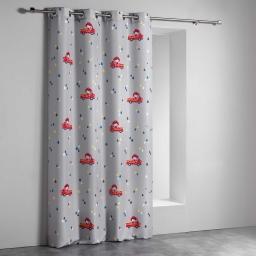 Rideau a oeillets 140 x 260 cm polyester imprime flyn Gris