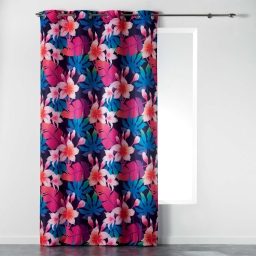 Rideau a oeillets 140 x 260 cm polyester imprime fun flowers Prune
