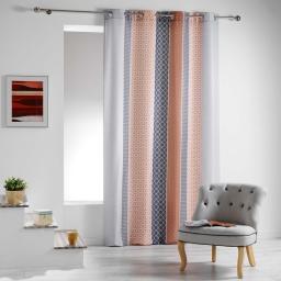 Rideau a oeillets 140 x 260 cm polyester imprime galliance Cuivre