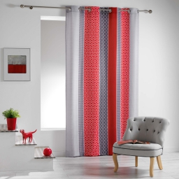 Rideau a oeillets 140 x 260 cm polyester imprime galliance Rouge