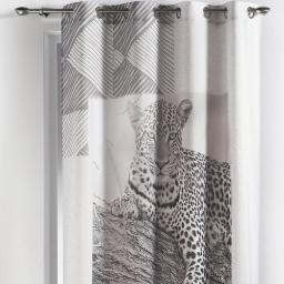 rideau a oeillets 140 x 260 cm polyester imprime guepard des. place