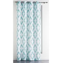 Rideau a oeillets 140 x 260 cm polyester imprime ikat Bleu