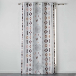 Rideau a oeillets 140 x 260 cm polyester imprime indila Blanc/Naturel