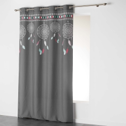 Rideau a oeillets 140 x 260 cm polyester imprime indila top Anthracite/Menthe