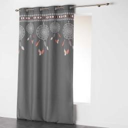 Rideau a oeillets 140 x 260 cm polyester imprime indila top Anthracite/Naturel