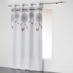 Rideau a oeillets 140 x 260 cm polyester imprime indila top Blanc/Menthe