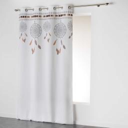 Rideau a oeillets 140 x 260 cm polyester imprime indila top Blanc/Naturel