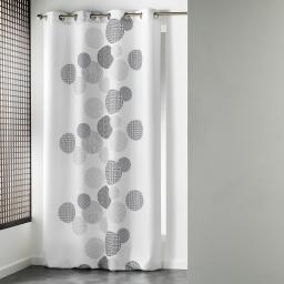 Rideau a oeillets 140 x 260 cm polyester imprime japonica Blanc