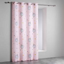 Rideau a oeillets 140 x 260 cm polyester imprime lili Rose