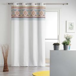 Rideau a oeillets 140 x 260 cm polyester imprime luisa Blanc