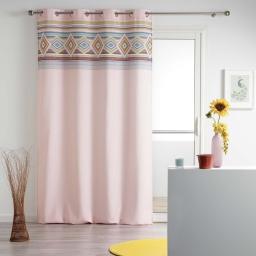 Rideau a oeillets 140 x 260 cm polyester imprime luisa Rose